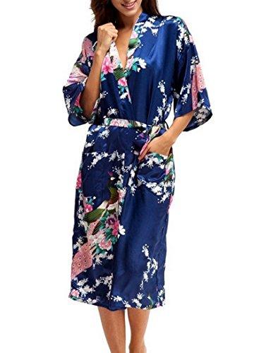 Soie Artificielle Paon Fleur Robe de Chambre Kimono Femme - Cardigan Peignoir Robe de Nuit Longue Grande Taille - Bleu Foncé- Taille L