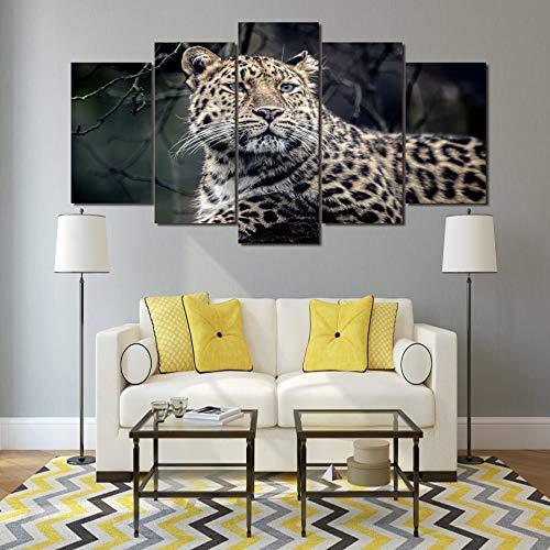 Trabajo Moderno Arte de la Pared Cartel Decoración del hogar 5 Panel Animal Leopardo Sala de Estar Impresión HD Lienzo Modular Imágenes