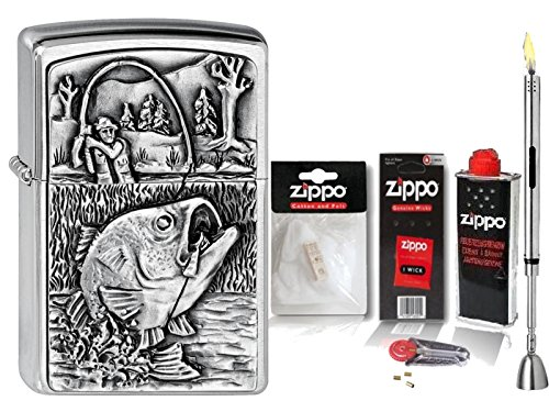 Zippo Feuerzeug Bass Fishing & Zubehör XL + Stabfeuerzeug Chrome Brushed