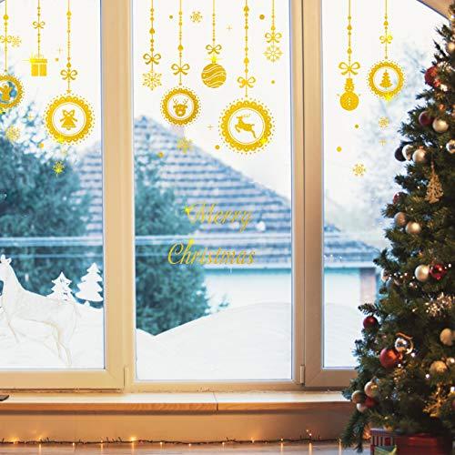Kesote 45 Teilig Fensterbild Weihnachten Selbstklebend Fenstersticker Abnehmbar Gold Fensterdeko Schneeflocken Glitzer Statisch Haftende PVC Aufkleber Winter Weihnachtsdeko
