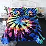 BlessLiving Tie Dye Comforter Set Trippy Bedding Hippie Gypsy Bed Sets Bohemian Comforter Full/Queen Size Psychedelic Blanket for Boys Men, Blue Purple,3 Piece - 1 Quilt with 2 Pillow Shams