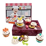 TOP BRIGHT Pretend Play Wooden Cake Set Toys - for 2-3 Years Old Girls Toddlers,...