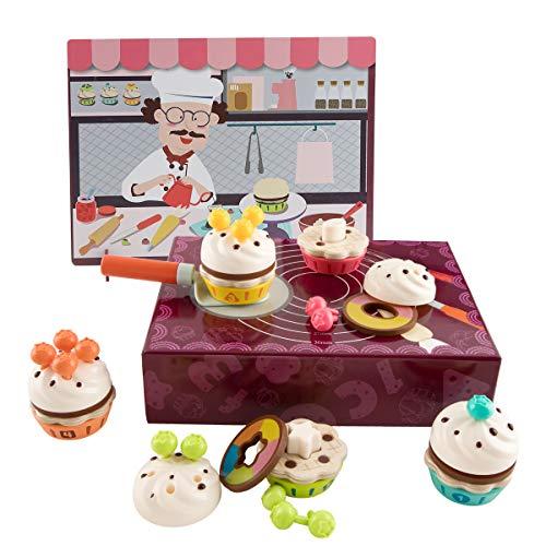 TOP BRIGHT Cupcake Juegos de Juguete Juego de Pastel de Madera - Finge Jugar a la Cocina de Alimentos Decorado de Pasteles, Color y Forma de Reconocimiento Toddlers Juguetes