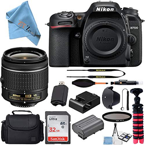 Nikon D7500 20.9MP DSLR Digital Camera with AF-P DX NIKKOR 18-55mm f/3.5-5.6G VR Lens + SanDisk 32GB...