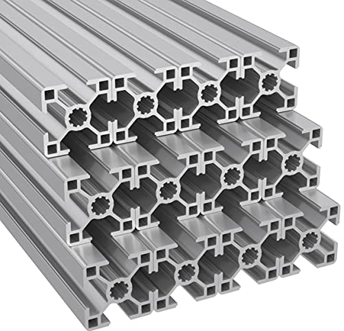 Ulber24- Aluprofil 30x30 Typ B Nut8,12x2m=24m Aluminium- Konstruktion- Montage- System- 3030 Alu Schiene Stecksystem Vierkant Profil B-Typ Nut 8 Winkel