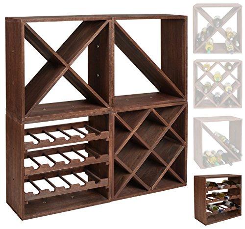 Estante para botellas de vino - Sistema modular CUBOX 50 - Mod. Dunkel 15 - Capacidad de hasta 15 botellas de 75 cl. - Tamaño 50 x 50 x 25 cm. en madera de pino FSC - Marrón