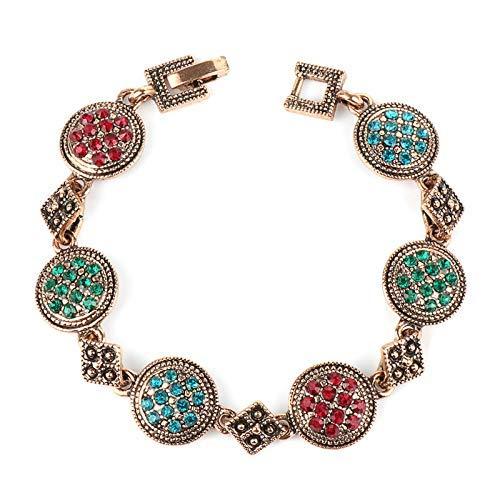 CEXTT Pulseras de Oro de Rosa Antiguas para Las Mujeres Colorido Rhinestone Bohemian Brazaletes y brazaletes Joyería de la Boda del Vintage