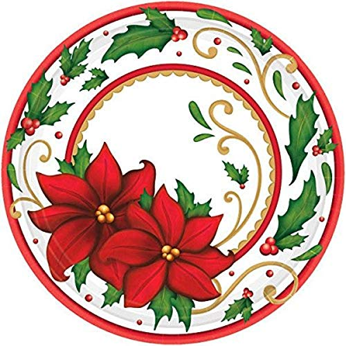 Winter Botanical Round Christmas Paper Plates, 60 Ct. | Party Tableware
