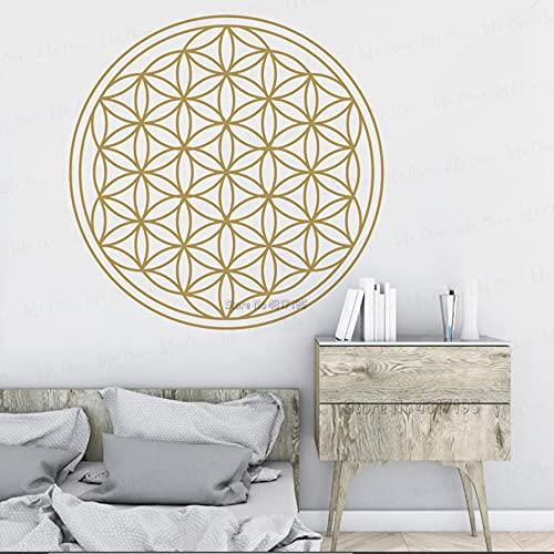 Flor de la vida Arte de la pared Calcomanía de vinilo Mandala Flor Geométrica Etiqueta de la pared Semilla de vida Pared Yoga Decoración para el hogar Etiqueta de la pared Otro color 57x57cm