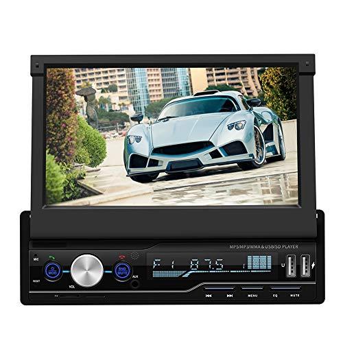 Vipxyc 7-Zoll Auto DVD/CD Player, Einziehbares Navigations Bluetooth Autoradio mit Rückfahrkamera Kit, MP5 Touchscreen Radio Player Unterstützt RM/RMVB/AVI/MP4/WAV/APE Format