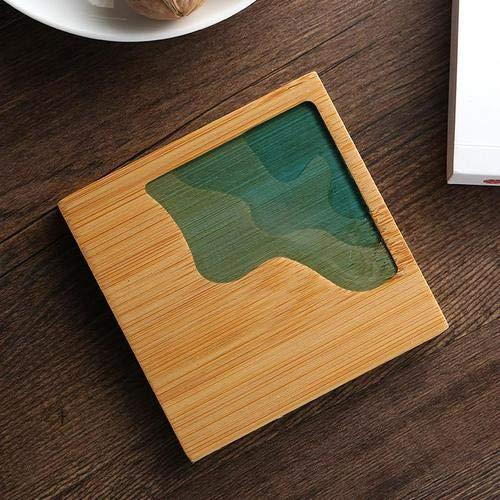 GUANGE Bambusuntersetzer Im Japanischen Stil Für Getränke, Transparente Holz-untersetzer Aus Epoxidharz, Quadratische Und Runde Holzuntersetzer, Untersetzer Für Tee, Kaffee, Stil G