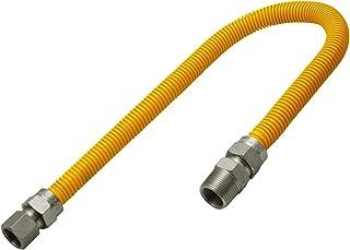 Flextron FTGC-YC12-18M 45,7 cm elastyczne żółte złącze przewodu gazowego pokryte epoksydową o średnicy zewnętrznej 1,5 cm ...