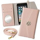 iPhone 5 5s SE ケース 手帳型 アイフォン スマホケース ピンク ストーン パール