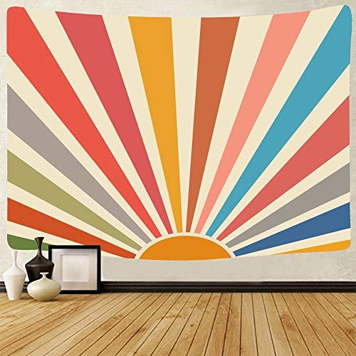 Vintage Sun Tapestry Boho Wall Hanging Retro 70s Rainbow Sunrise Sunset Minimal Geometric Grunge Abstract Art Print Hippie Bohemian Decor for Dorm Living Room Nursery Bedroom (51 x 59inch)