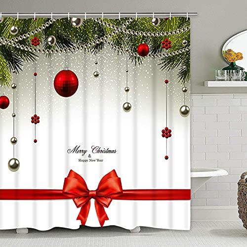 Frohe Weihnachten Duschvorhang mit 12 Haken, Weihnachtsbälle Schleife Tannenbaum Duschvorhang Wasserdicht Badezimmer Duschvorhang für Weihnachtsdekoration (178,1 x 175 cm)
