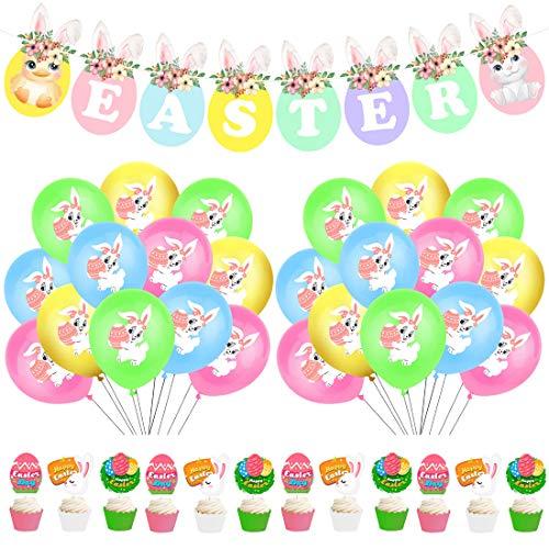 YUESEN Pascua Set de decoración 30 Piezas Pascua de decoración, Globos de Pascua, pancartas, Inserciones de Pastel para niña niño bebé Pascua decoración y Regalo de Pascua