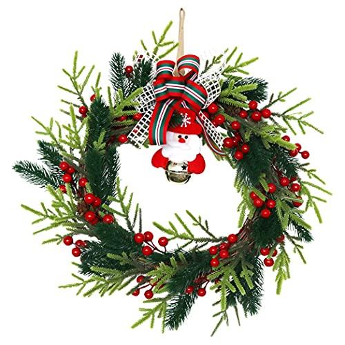 Camisin Corona de Navidad para puerta, campanas de Papá Noel y bayas de pino para puerta delantera, ventana, chimenea, casa de granja