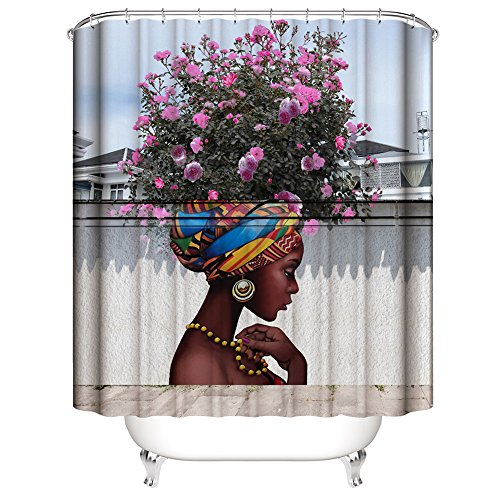 Muuyi Beautiful Flower Girl Art Shower Curtain for Shower Stall by, Woman Ethnic Themed