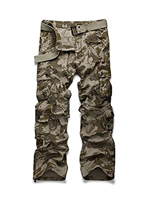Men's Casual Military Pants, Cotton Camo Tactical Wild Combat Cargo Trousers with 8 Pockets Wave Camo Tag 38-US 36