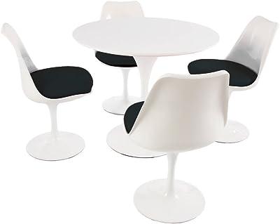 Eero Saarinen Tulip Estilo Conjunto - Mesa Circular Mediana Blanca con Cuatro sillas de Lado Blancos