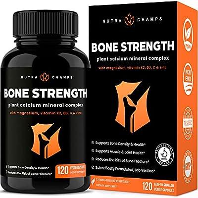 Bone Strength Supplement with Plant Based Calcium, Magnesium, Potassium, Zinc, Strontium, Vitamin K2 D3 & C - Best Whole Food Vitamin & Mineral Complex Pills for Bone Health - 120 Vegan Capsules
