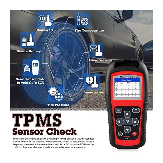 Autel MaxiTPMS TS501 TPMS Relearn Tool Automotive Scan Tool with Activate TPMS Sensors/TPMS Sensor Programming/Program… 2 【Upgraded Version of TS408, 2021 Newest】TS501 TPMS Tool can diagnose newest models up to 2020 with frequent updates. It packed ALL TPMS service options: TPMS programming(MX-Sensors), sensors Relearn/Activation, TPMS Reset and TPMS health diagnose, read sensor data, key fob frequency test. Please send VIN to : ❤Autelonline @outlook.com❤ CHECK COMPATIBILITY. 【TPMS Programming】 TS501 TPMS Programming Tool enables all car enthusiasts to program sensor data to Autel MX-Sensors with ease, saving you the money and trip to a dealership. With TS501, you can program AUTEL MX-Sensor (315/433MHz) with 4 programming options: Copy By Activation, Copy By Manual Input, Auto Create and Copy by OBD( Not available with TS408) to replace the faulty sensor with low battery life or one that is not functioning well. 【Relearn All TPMS Sensors】TS501 has added Relearn by OBD comparing with TS408. To turn off the TPMS warning light after replacement, you need to relearn the sensors to the vehicle! Autel TS501 TPMS Relearn Tool provides 3 ways of on-tool relearn precedures to relearn both OE and aftermarket sensors: Stationary Relearn, Automatic Relearn & OBD Relearn.