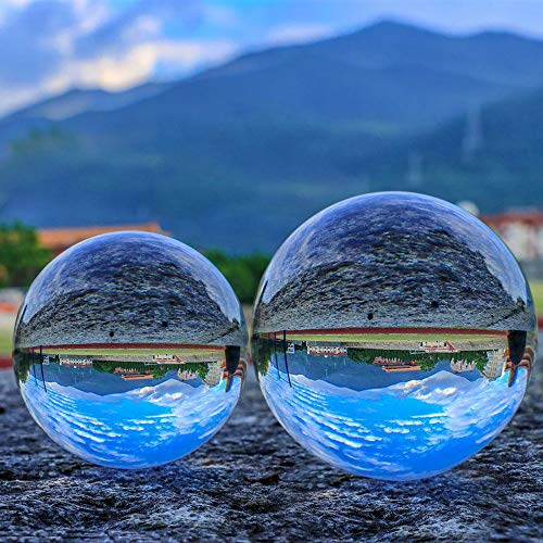 SunAngel 80mm & 60mm Crystal Ball Bundle (3' and 2.4'); Optical Glass Reflective Spheres, K9 Crystal Sphere Ball, Decor Photography Ball, Clear Contact Juggling Ball, No Stand (80MM & 60MM)