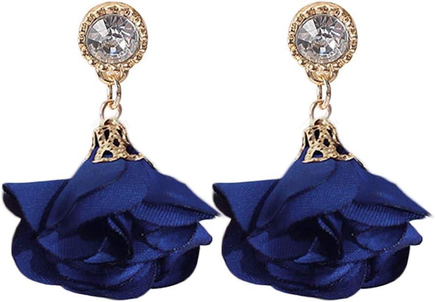 zhenleisier Women Rhinestone Inlay Flower Pendant Dangle Hook Ear Stud Cuff Earrings Daily Office Party Dating Jewelry Gift Sapphire Blue
