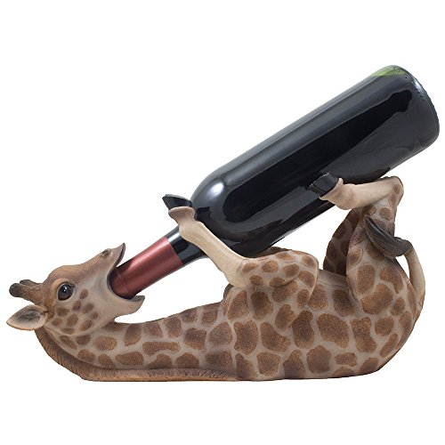 Drinking Giraffe Wine Bottle Holder Statue in African Jungle Safari Sculptures and Figurines Decor amp Wildlife Animal Wine Racks and Stands Gifts