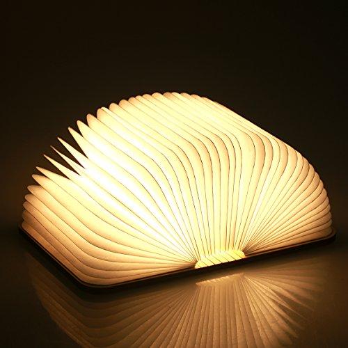 Yuanj Lampada Libro USB Ricaricabile, Lampada a Forma di Libro, Luce LED di Legno, Decorativi Lampada da Tavolo -880mAh Mini Lampada a Libro