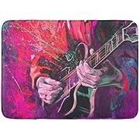 Alfombrillas Alfombras de baño Alfombrillas para exteriores / interiores Jazz Guitarristas Manos tocando la guitarra Fantasía multicolor en rojo brillante Rosa Colores Lienzo original Decoración de ba