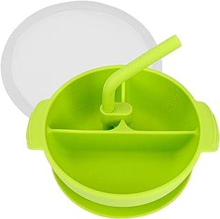 Amarillo Set Infantil de Silicona Vajilla de Beb/é Antideslizante Pack Plato y Cuchara de Silicona Kidoo