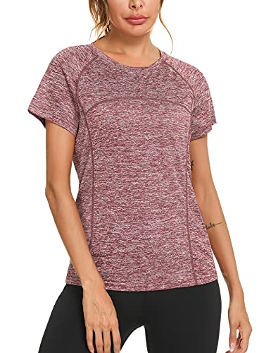 Sykooria Camiseta Deportiva Mujer con Cuello Redondo de Secado Rápido Camisetas Manga Corta Mujer para Yoga Running Fitness,Vino Tinto,M