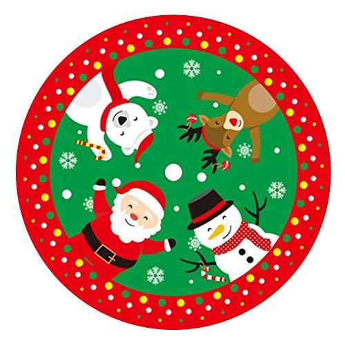 Hearthrousy Weihnachtsbaumdecke Weihnachtsdeko 84cm Weihnachtsbaum-Schürze Weihnachtsbaum Rock mit Schneemann Elch Muster Rund Bodendeko Weihnachtsdecke Weihnachtsdekoration, Rot und Grün