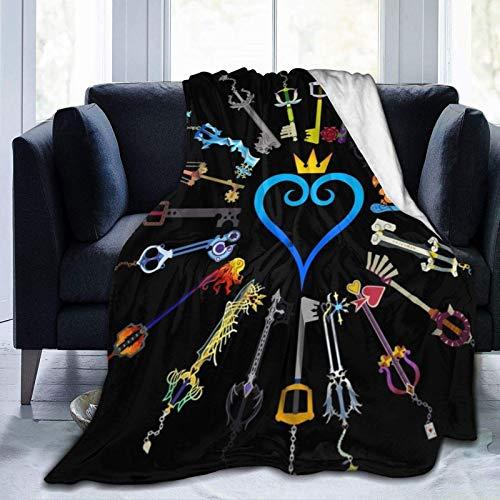 Kingdom Hearts Keyblades - Manta de forro polar de franela, mullida, acogedora manta de forro polar, cálida, gruesa y suave, para niños y adultos, individual de 50 x 40 pulgadas