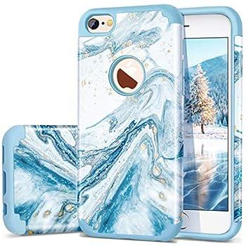 iPhone 6s Case iPhone 6 Case Fingic Marble Blue Bling Glitter Design Hybrid Flexible Soft Rubber Hard PC Bumper Shockproof Full Body Protective Phone Case Cover for Apple iPhone 6S / iPhone 6 - Blue