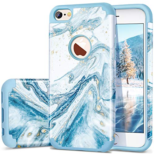 Fingic iPhone 6S Case, iPhone 6 Case, Marble Blue Bling Glitter Design Hybrid Flexible Soft Rubber Hard PC Bumper Shockproof Full Body Protective Phone Case Cover for iPhone 6S / iPhone 6 - Blue