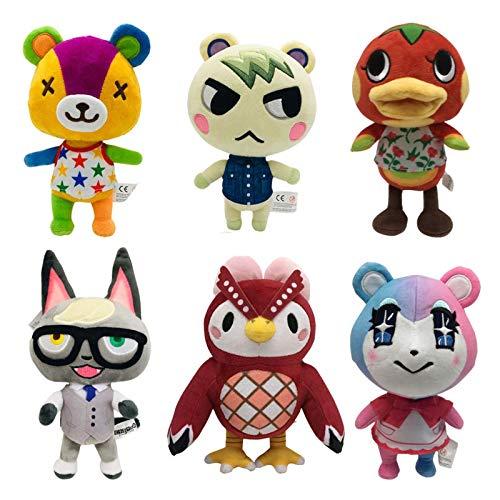 GYINK 6 Stück Animal Crossing Plüsch Stiche Marschall Bob Celeste Ketchup Raymond Judy Gefüllte Puppe Figur Spielzeug Kinder 21-25Cm