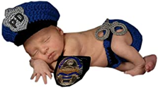 Pinbo Newborn Baby Boys Photography Prop Crochet Knitted Police Hat Diaper