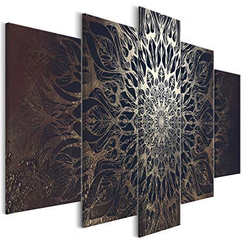 decomonkey Bilder Mandala 200x100 cm 5 Teilig Leinwandbilder Bild auf Leinwand Wandbild Kunstdruck Wanddeko Wand Wohnzimmer Wanddekoration Deko Modern Abstrakt schwarz Gold