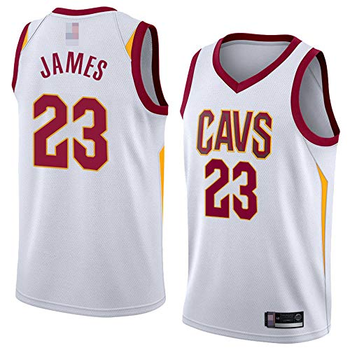Jerseys De Hombre, NBA Cleveland Cavaliers # 23 Lebron James - Ropa De Deporte De Baloncesto Classic West Comfort Chalecos Tops, Camisetas Sin Mangas Uniformes,Blanco,L(175~180CM)