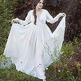 B/H Renacentista de Las Mujeres Vestidos,Vestido Medieval de Cintura Alta con Cuello en V, Disfraz de Baile de Disfraces de Halloween-White_M,Disfraces Medievales Princesa Reina