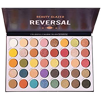 High Pigmented Diamond Reversal Planet Eyeshadow Makeup Palette 40 Multicolor Metallic Matte Shimmer Glitter Ultra Neutral Blendable Creamy Eye Shadow Pallet Set Kit