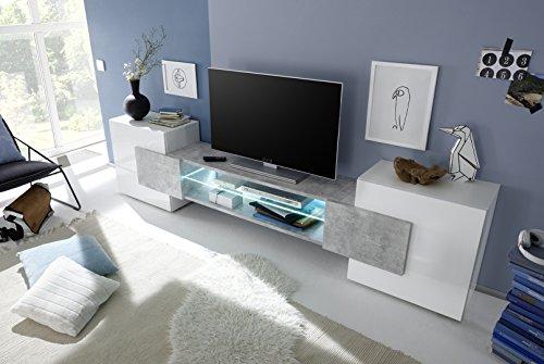 Arredocasagmb.it Mobile Porta TV Moderno Bianco Lucido Effetto Cemento Soggiorno Inserto
