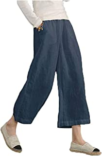 Lghxlxry Women's Casual Elastic Waist Wide Leg Cotton Linen Cropped Pants Loose Fit Trousers with Pockets