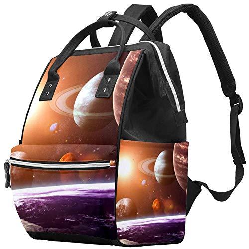Bennigiry Sac à langer avec système solaire planètes Grande capacité Sac à dos de voyage Sac à langer Organisateur multifonction pour bébé