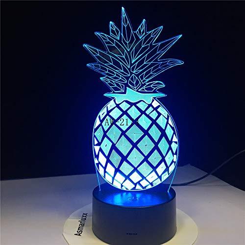 hqhqhq 3D Pine Ananas LED luz de Noche 7 Cambio de Color decoración de la habitación del hogar niño niños bebé lámpara de Escritorio para Dormir Regalos del Festival 2368111