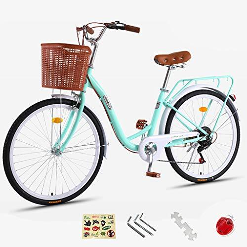ZXLLO Pariser Frauenfahrrad Holland-Rad 24-Zoll-Aluminium Mit Korb 7-Gang-Getriebe Damen-Stadtrad Retro-Entwurf Frauenrad 16Kg