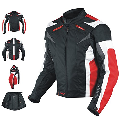 A-pro Motorcycle Jacket CE Armored Textile Motorbike Racing Thermal Liner, Schwarz-Rot, L