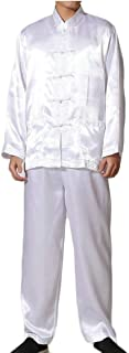 Maweisong Men's 2 Piece Chinese Kung Fu Traditional Frog Button Shirt and Pants Set